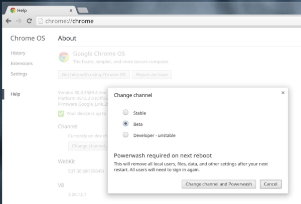 Google Chrome OS channel chooser