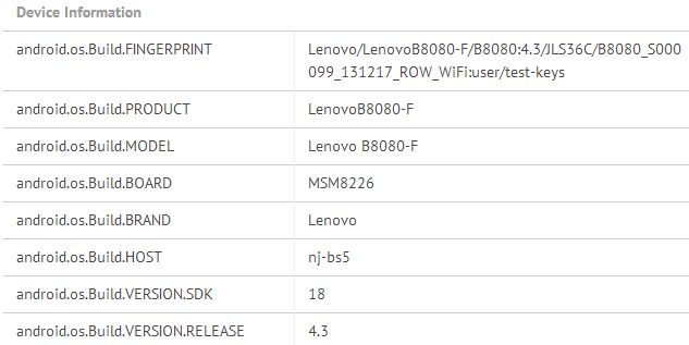Lenovo B8080 tablet