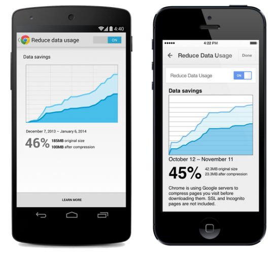 Chrome data compression for Android and iOS