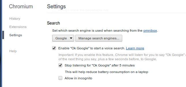 Google Chromium with OK Google