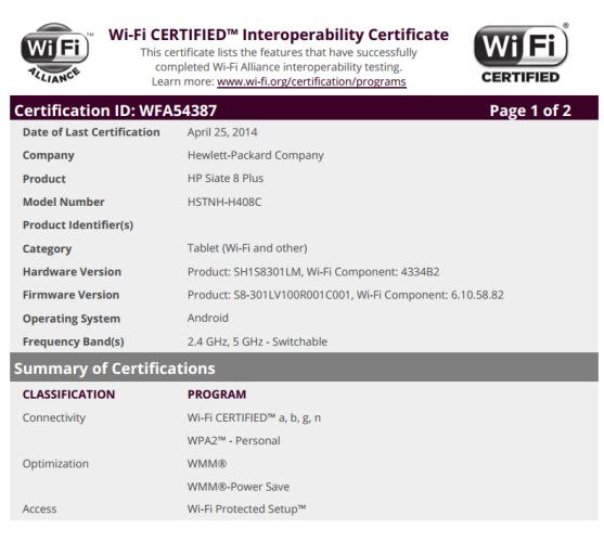 HP Slate 8 Plus WiFi certification
