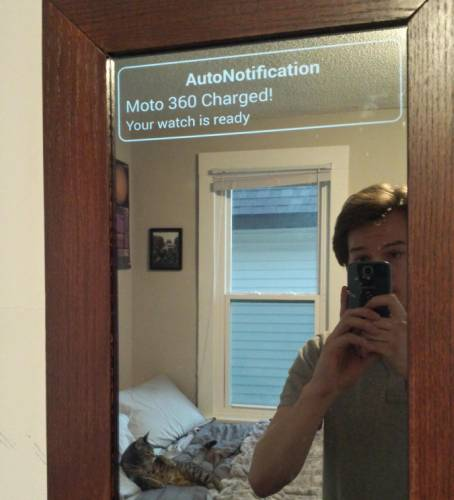 Diy Smart Mirror Superimposes Android Wear Notifications On