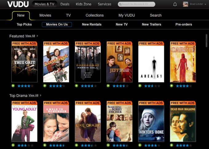 Vudu launches free, ad-supported video steaming service