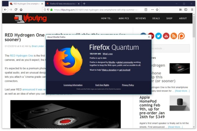 Firefox 58 released with support for faster graphics