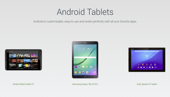 Google's Android website doesn't mention tablets anymore