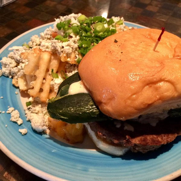 Poblano Burger with Gorgonzola Fries