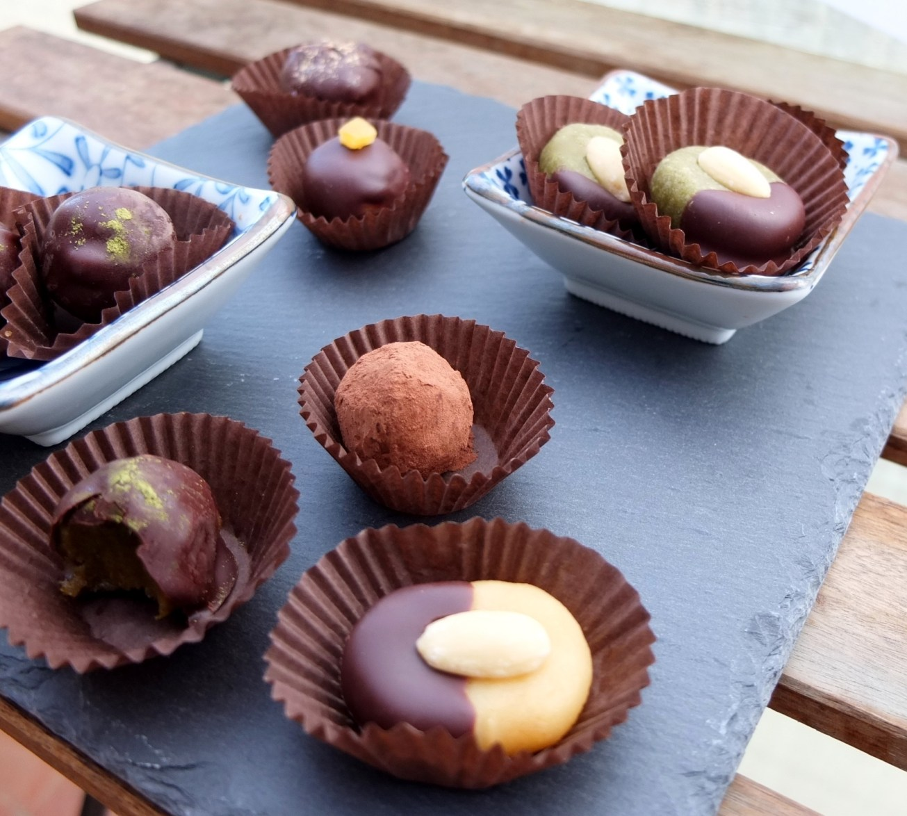 Healthy Chocolate Covered Matcha Marzipans And Date