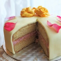 Lemon drizzle and raspberry layer cake with easy marshmallow fondant and lemon curd - for a birthday! :)
