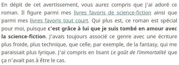 Exemple de conclusion, ajout au palmarès personnel, tiré de ma review du Goût de l'immortalité de Catherine Dufour