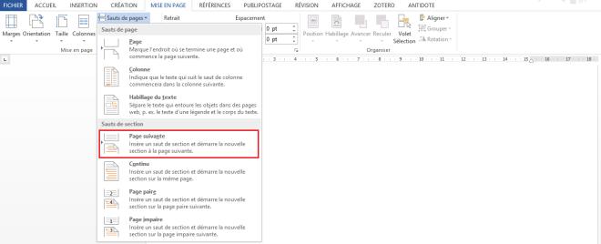 """Section Sauts de section, article """"Didacticiel Microsoft Word: Petit guide pour utiliser les sauts de page"""", 14 septembre 2018"""
