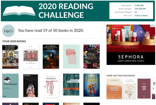 2020 Goodreads Reading Challenge de Lilith