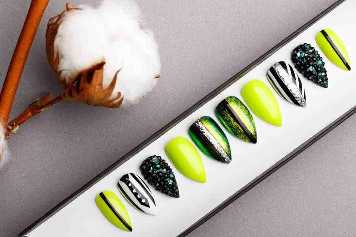 Beetlejuice Green Press on Nails with Swarovski Crystals