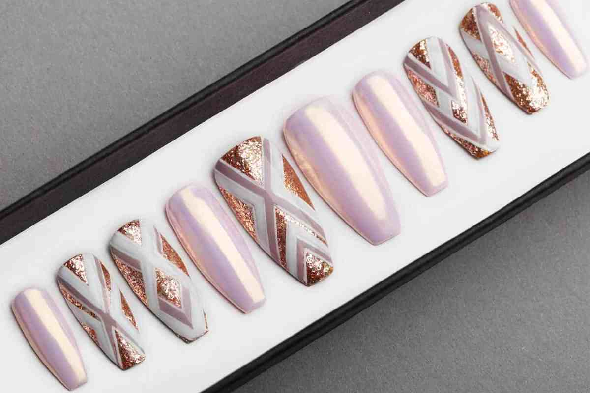 Geometry and Pearl Press on Nails | Hand painted Nail Art | Fake Nails | False Nails | Artificial Nails | Glitters