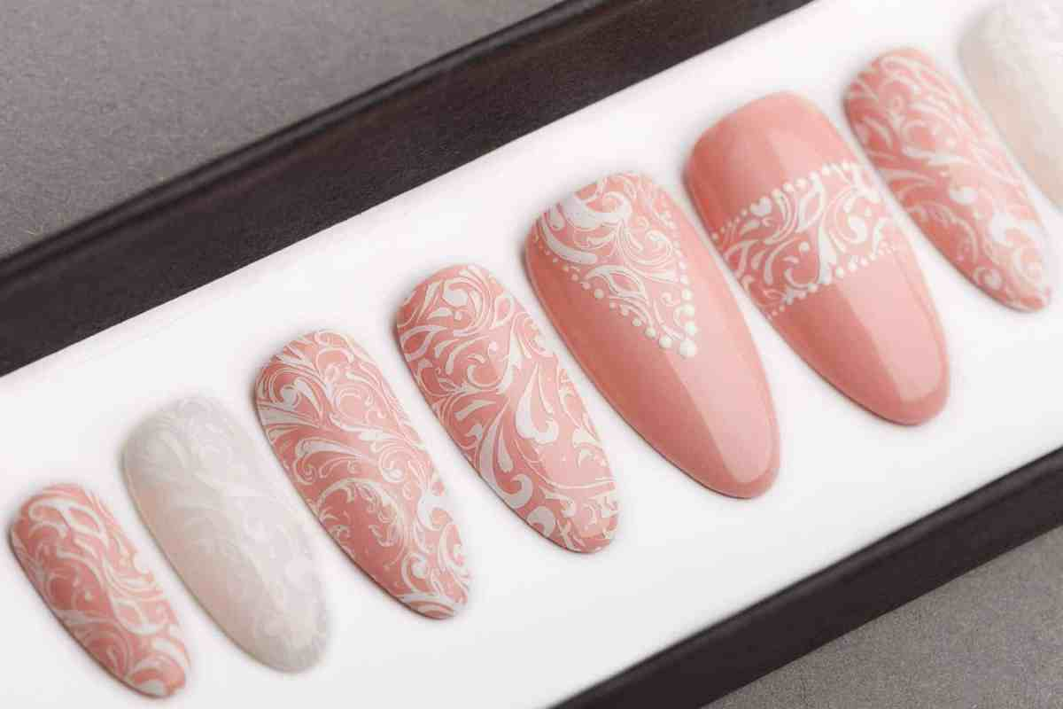 Lace Wedding Press on Nails | Bridal nails | Bridesmaids Nails | Fake Nails | Hand painted nail art | False Nails