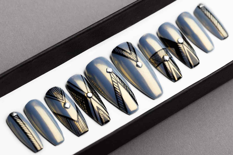 Gray Chrome Abstract Press On Nails   Lilium Nails