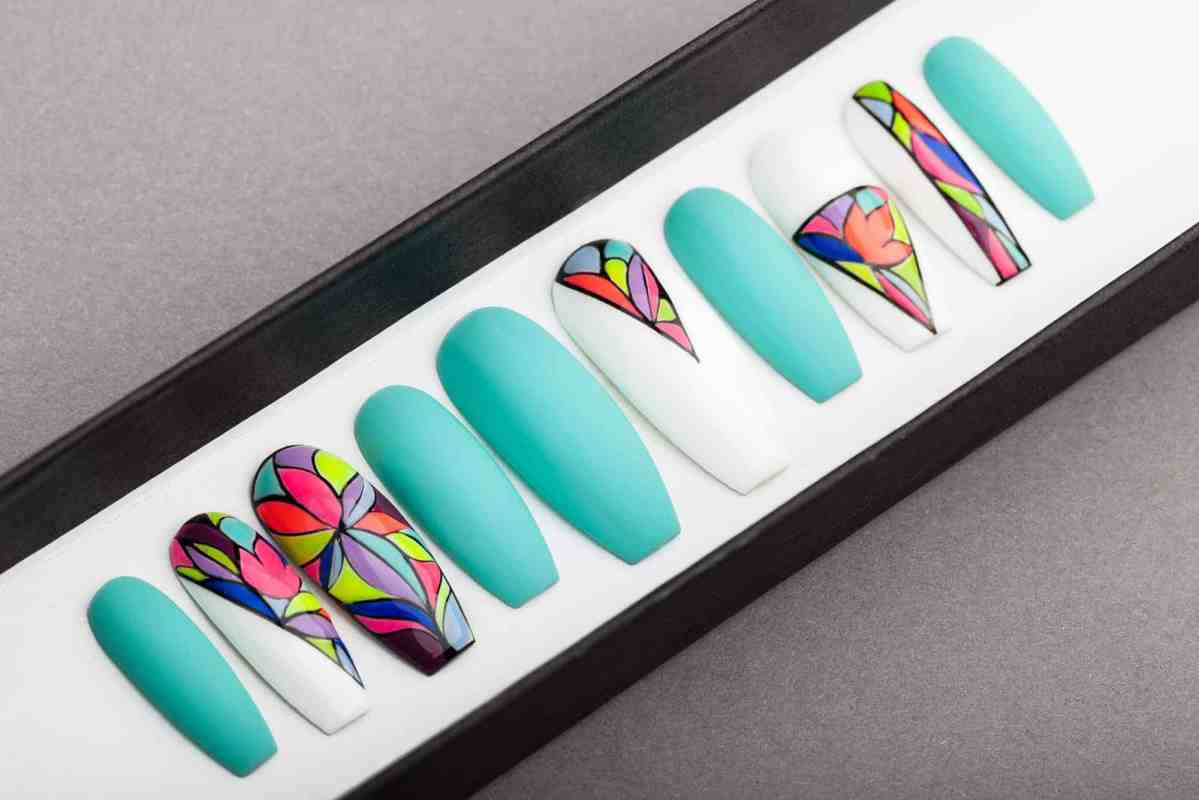 Neon Mosaic Press On Nails | Turquoise nails | Hand painted Nail Art | Fake Nails | False Nails