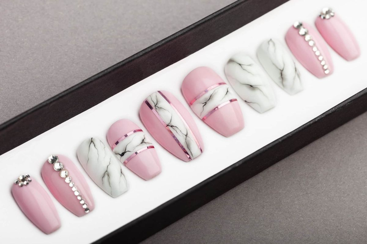 Pink and White Marble Press on Nails with Swarovski Crystals | Nail Art | Fake Nails | False Nails | Glue On Nails | Acrylic Nails