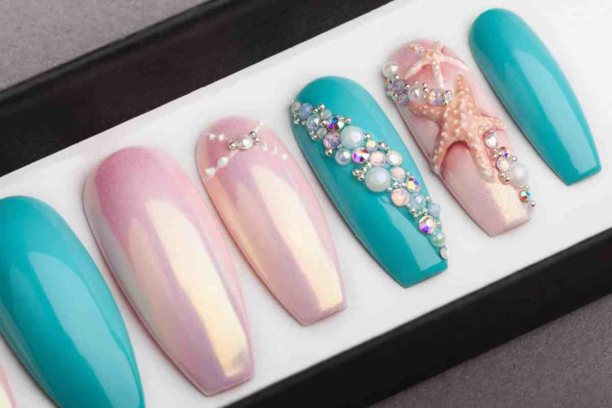 Under the Sea Press on Nails with 3D Sea Shell and Starfish | Nail Art | Fake Nails | Swarovski Crystals | Glue On Nails | Acrylic sculpting