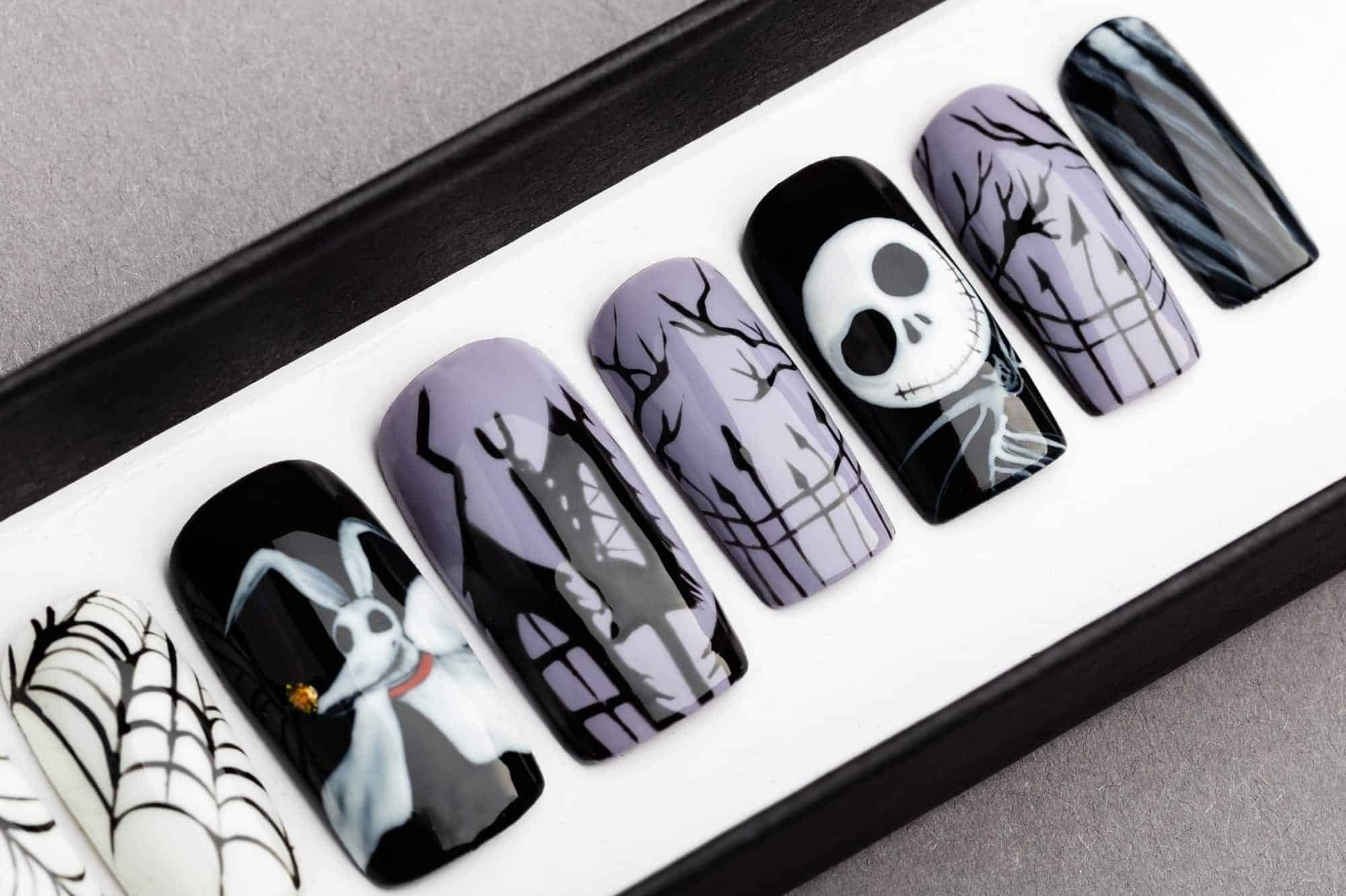 nightmare before christmas press on nails halloween nails