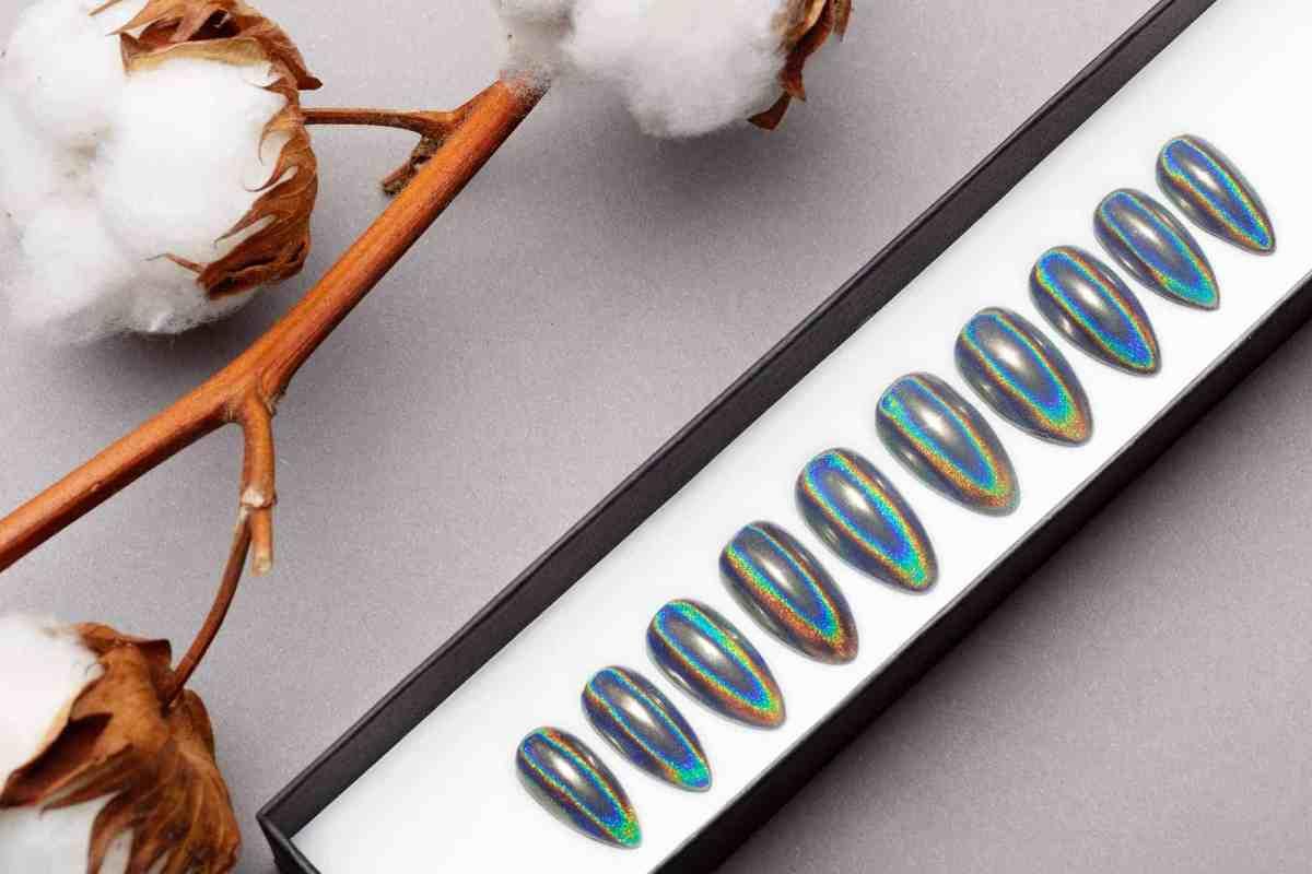 Mirror Prism Press on Nails | Unicorn Nails | Hand painted Nail Art | Fake Nails | False Nails | Celebrity Nails