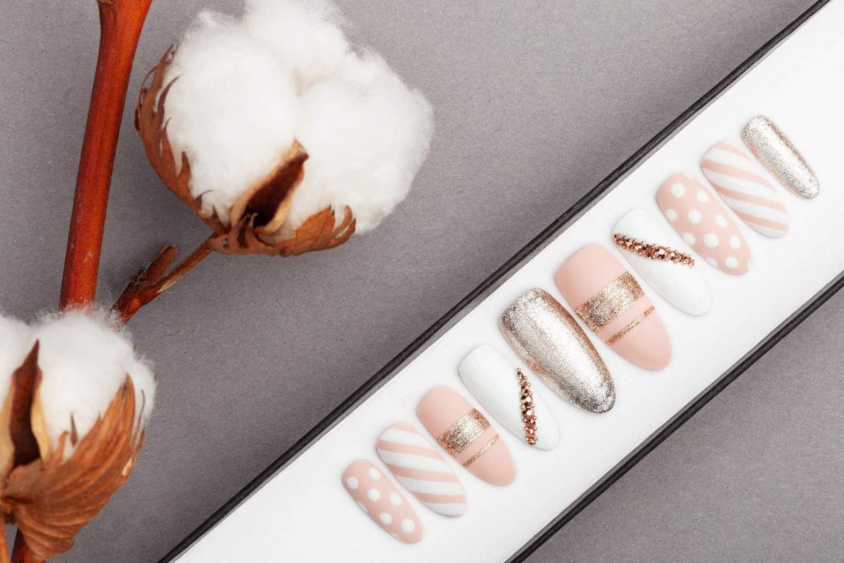 Stripes & Bubbles with Rose Gold Swarovski Crystals Press on Nails | Hand painted Nail Art | Fake Nails | False Nails