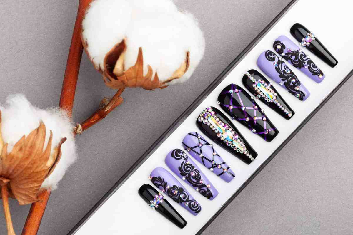 The Purple Royal Press on Nails with Swarovski Crystals | Halloween nails | Hand painted Nail Art | Fake Nails | False Nails | Glue on nails
