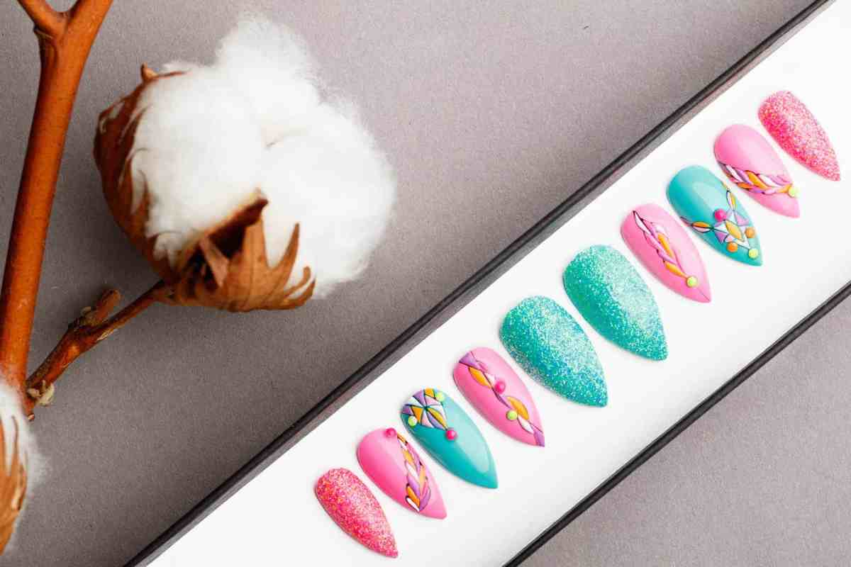 Pink And Turquoise Press on Nails | Fake Nails | False Nails | Glue On Nails | Tracery Nails | Acrylic Nails | Gel Nails