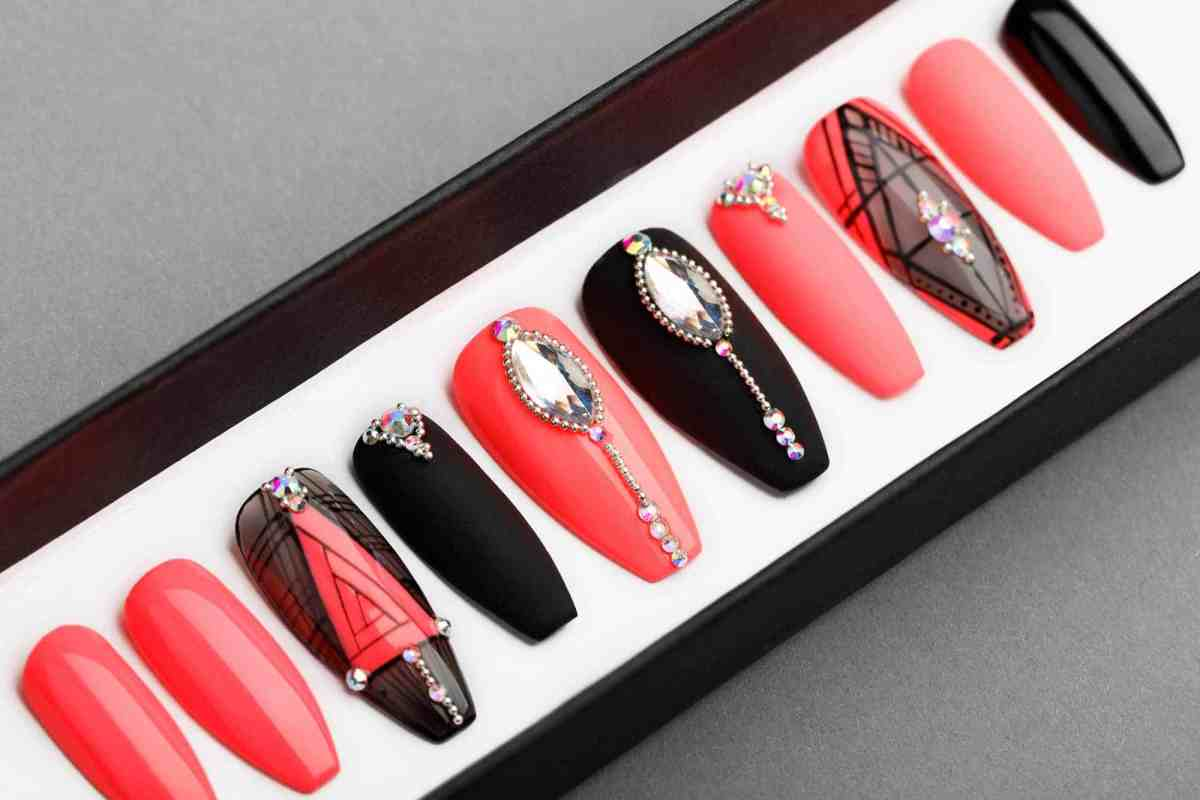 Red & Black Geometry Press on Nails with Swarovski Crystals | Hand painted Nail Art | Fake Nails | False Nails