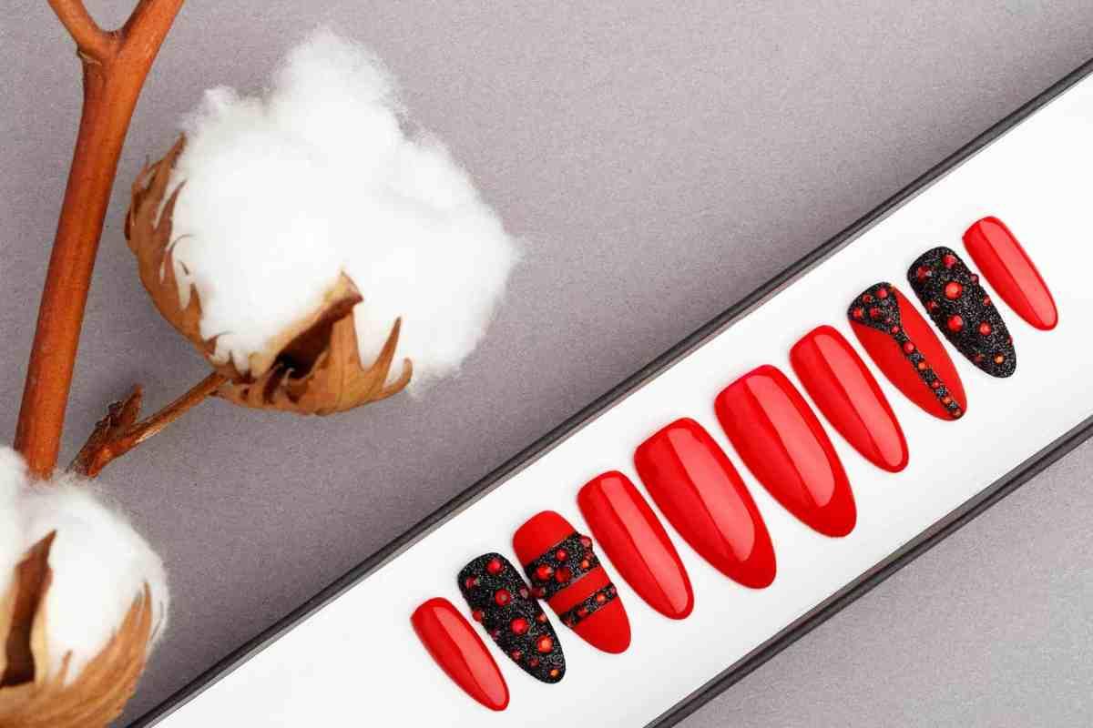 Red and Black Press on Nails with Swarovski | Hand painted Nail Art | Fake Nails | False Nails | Glue On Nails | Acrylic Nails | Gel Nails