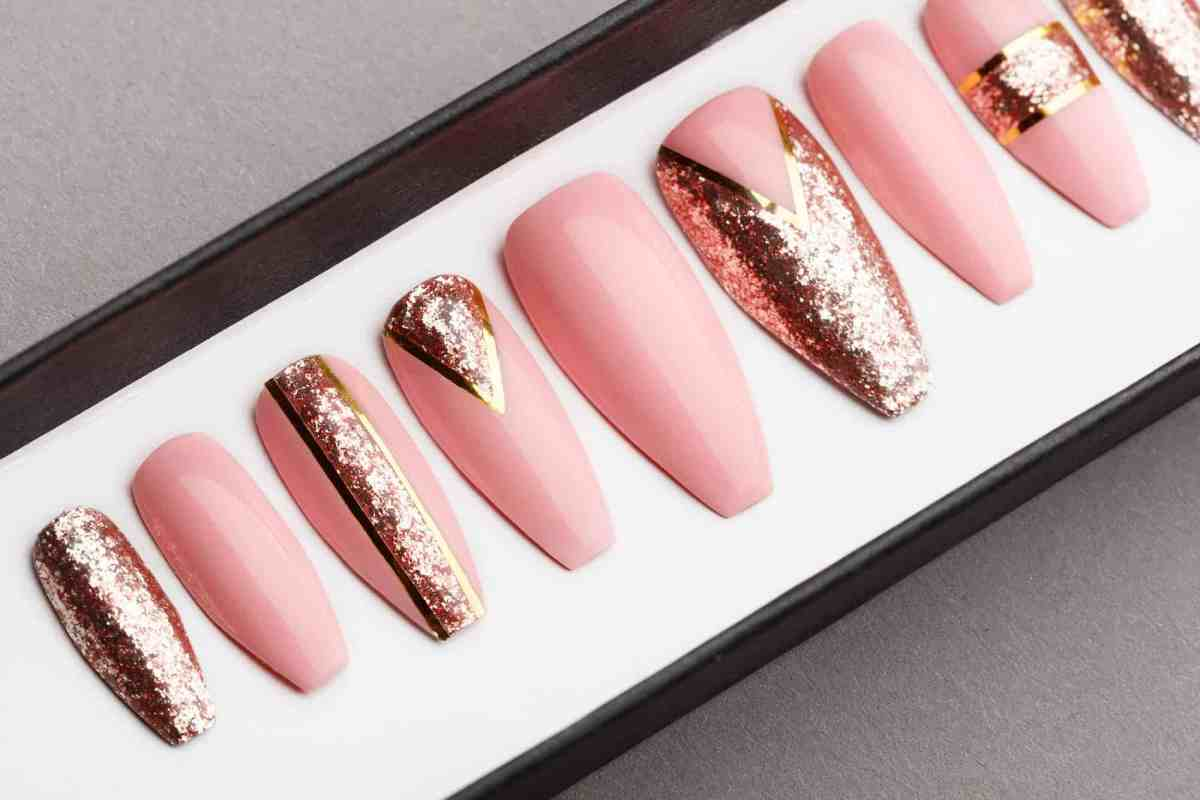 Rose Gold Press on Nails | Hand painted Nail Art | Fake Nails | False Nails | Artificial Nails | Glitters