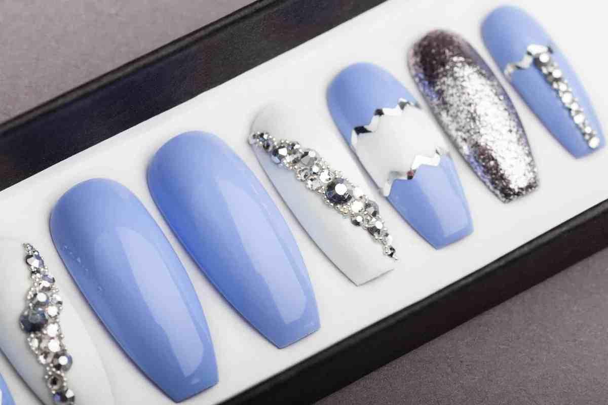 Sky Blue Press on Nails with Swarovski crystals | Hand-painted Nail Art | Fake Nails | False Nails | Glue On Nails