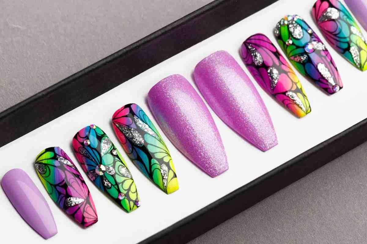 Tropical Purple Press on Nails with Glitters   Handpainted Nail Art   Fake Nails   False Nails   Abstract Nail Art   Bling Nails