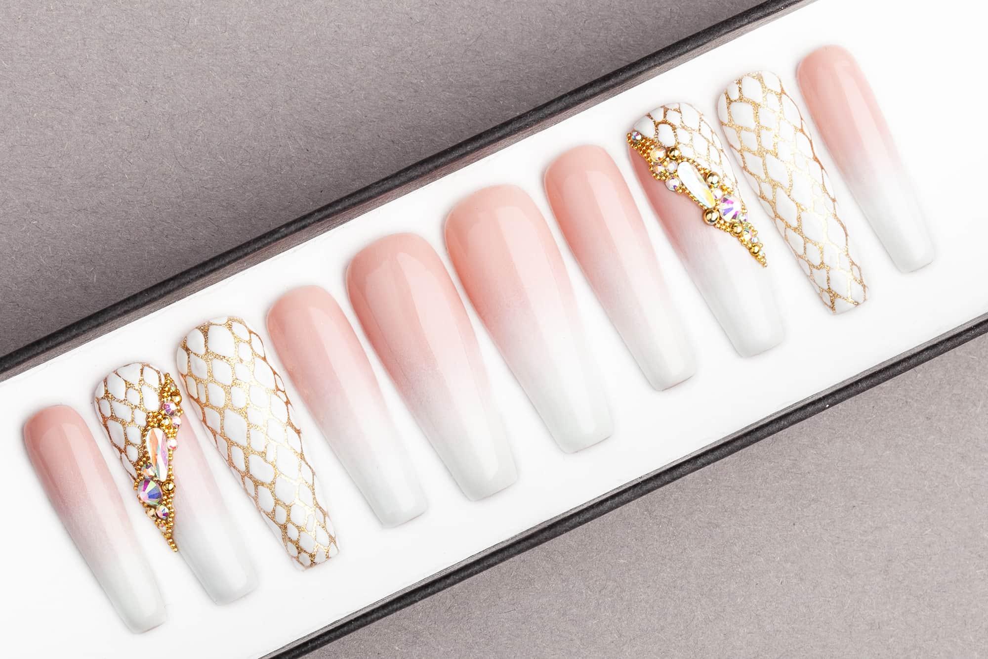 Almond Baby Boomer Nails - nail decorations