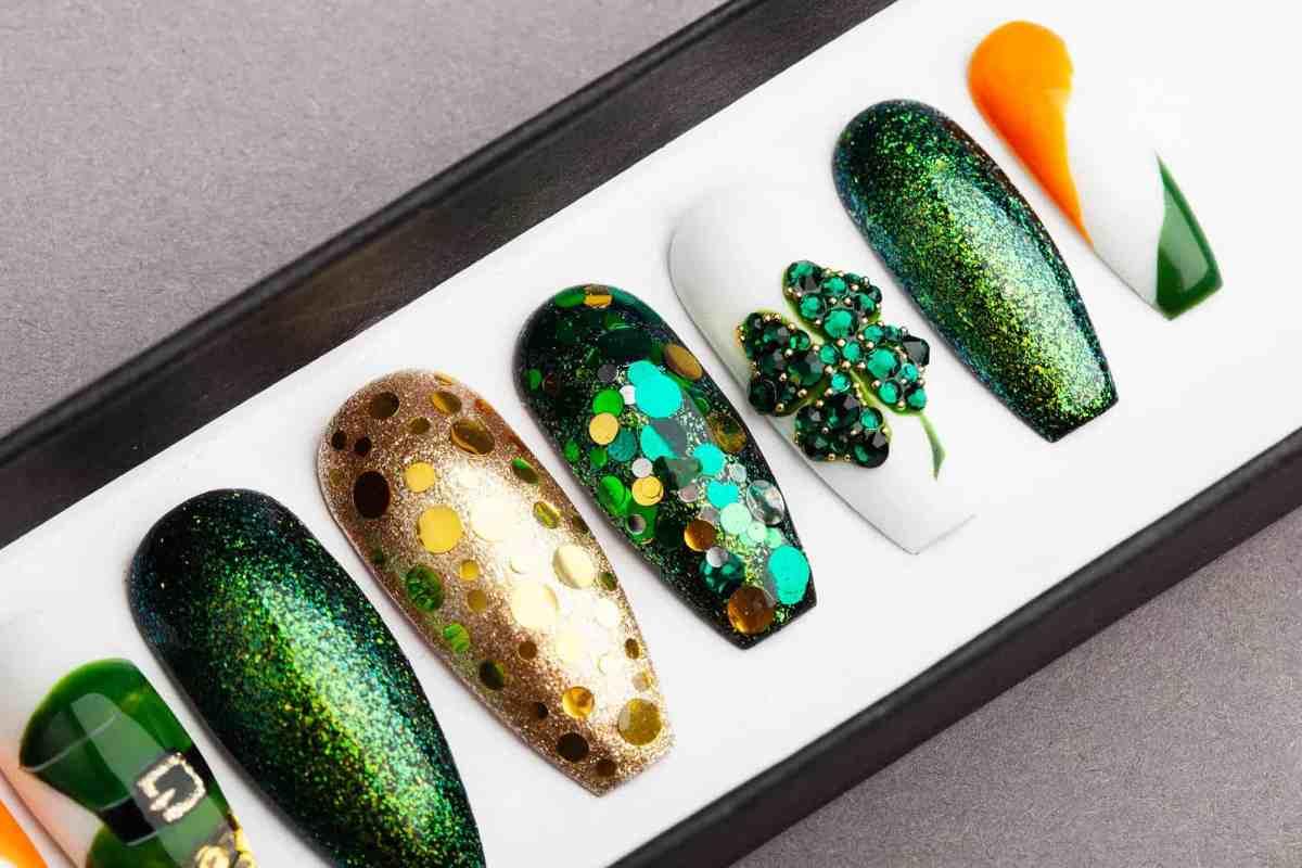 Saint Patrick's Day Press On Nails   Swarovski crystals   Nail Art   Fake Nails   False Nails   Glue On Nails