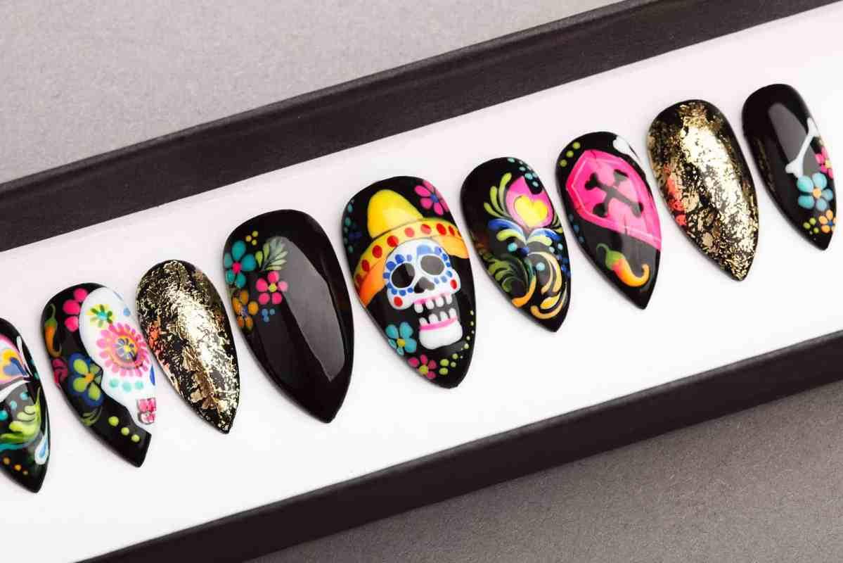 Dia De Los Muertos Press on Nails