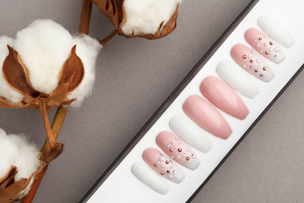 White and Beige Press On Nails with Rhinestones and Pearls