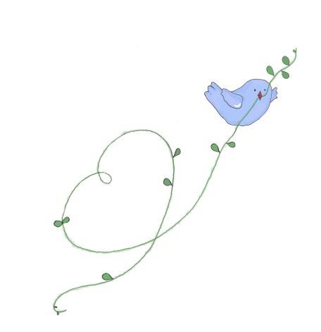 fågel med hjärta blå
