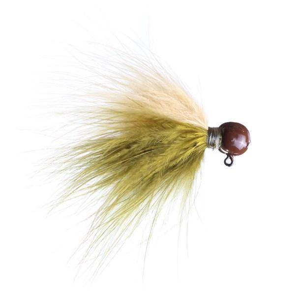 marabou jig 1/8 olive/ginger brown head