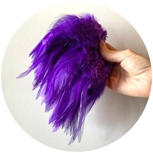 6-7″ Wooly Bugger Saddle Hackle – Purple