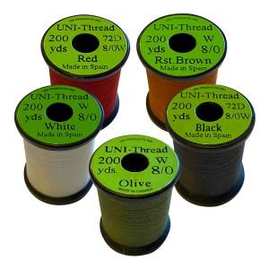 Uni-Thread 8/0 200 yards, waxed (Assorted Colors)