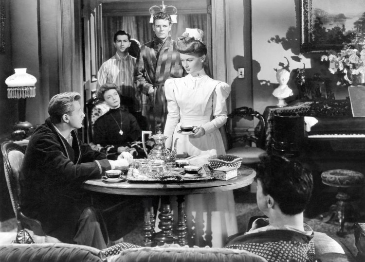 MISS SUSIE SLAGLE'S, face to face from left Sonny tufts, Veronica Lake, Lillian Gish seated rear, Bill Edwards rear right,