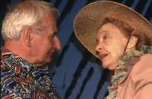 American actress Lillian Gish with indian-born british director Lindsay Anderson attend the 1987 Cannes film festival to present his movie The Whales of August. (photo by John Van Hass)