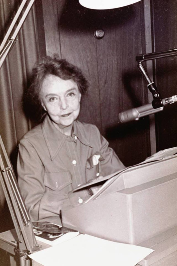 Lillian in the recording booth reading Helen Keller's My Religion 1974