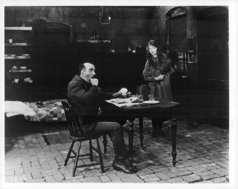 Lillian Gish and Donald Crisp in Broken Blossoms - He can't stand bad manners at the table ...