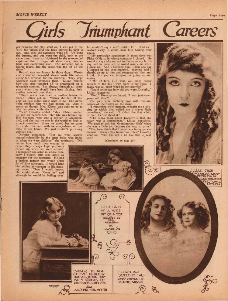 Intimate story of The Gishes 2 - Movie Weekly 03.18.1922
