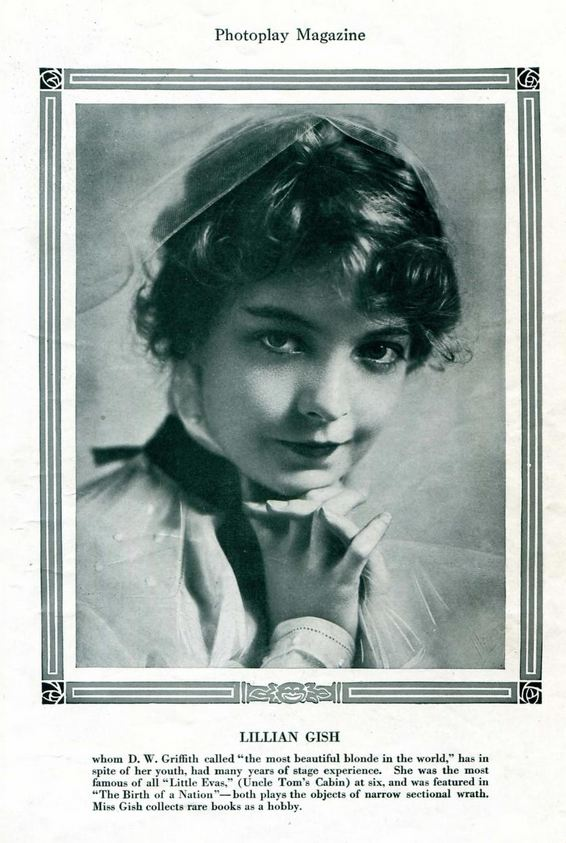 Lillian Gish Photoplay September 1915 (Gish Collects rare books as a hobby)