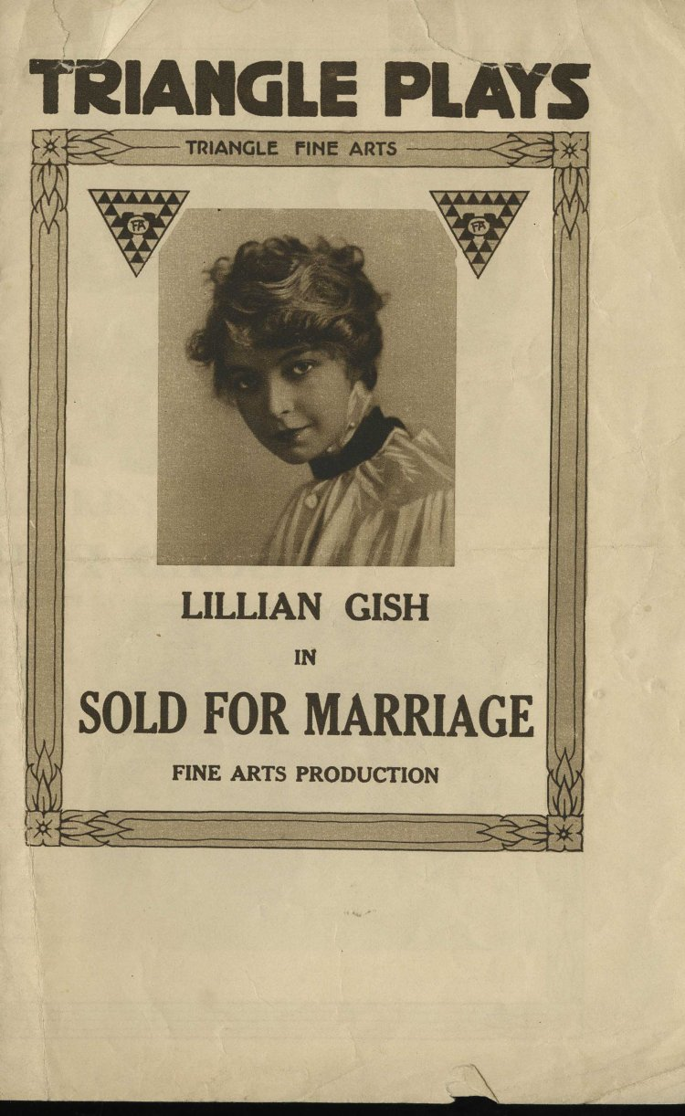 Sold for Marriage Triangle Plays Program 1916