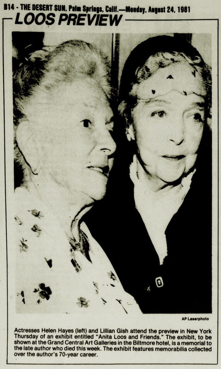 Helen Hayes and Lillian Gish attend at preview in New York Thursday of an exhibit Anita Loos and Friends