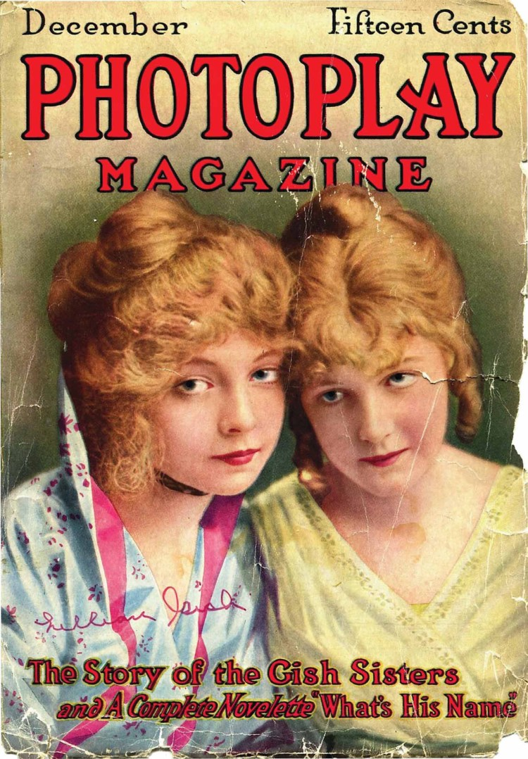 Lillian and Dorothy Gish Photoplay Magazine, Dec 1914 cover