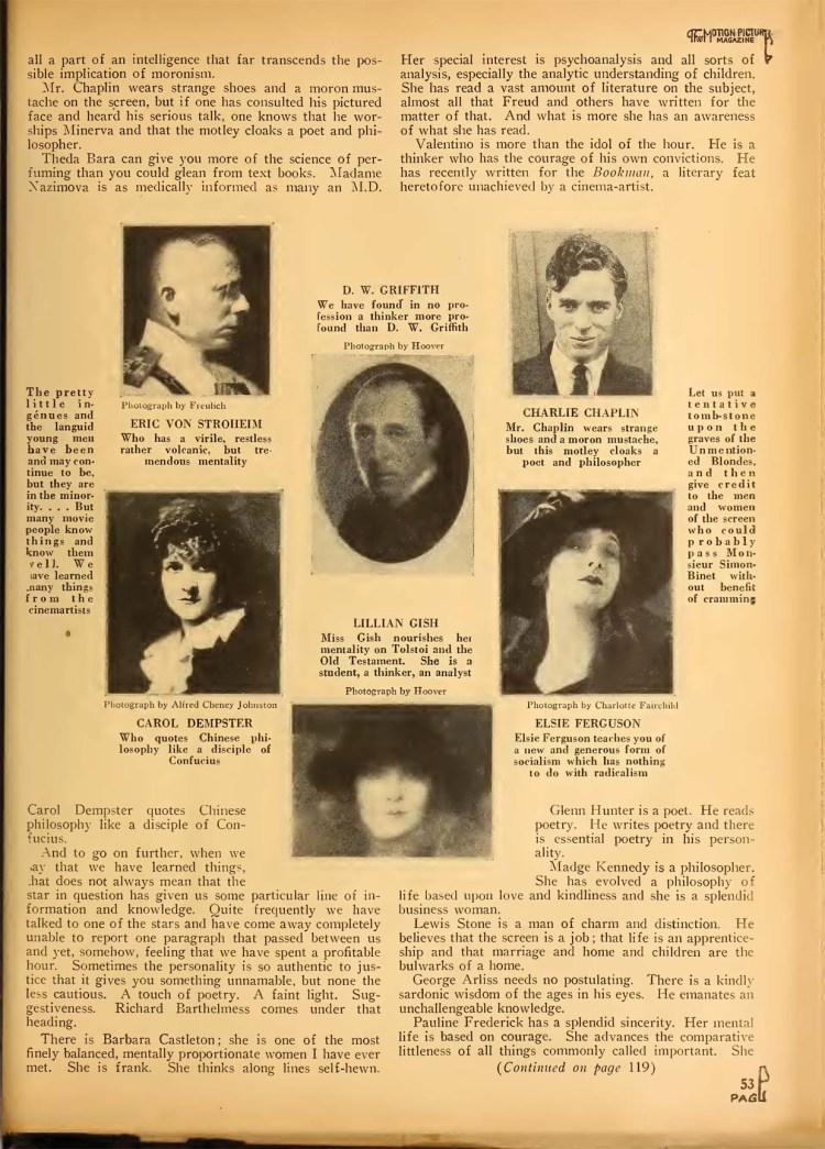 Motion Picture Magazine – April 1923 - Are the Movie Folk Morons?